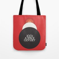 kubrick Tote Bags featuring 2001 A Space Odyssey - Stanley Kubrick Poster, Red Version by Stefanoreves