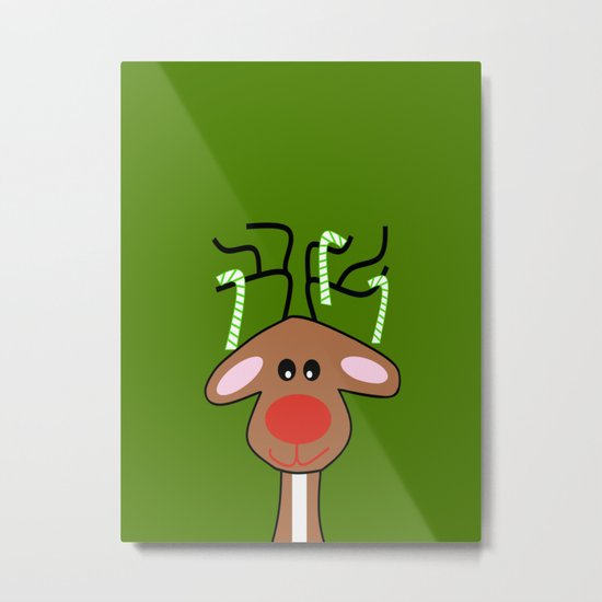 Christmas Reindeer Green Metal Print