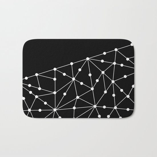 Abstract black and white pattern. Mesh . Bath Mat