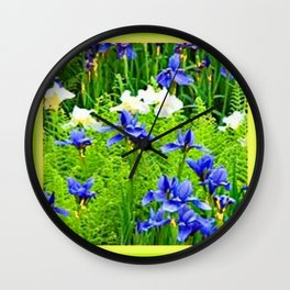 WHITE-BLUE IRIS & CHARTREUSE FERNS GARDEN Wall Clock