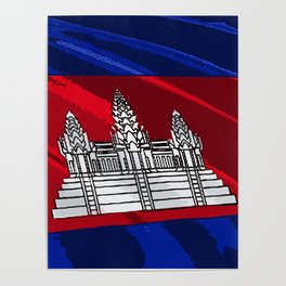 Cambodia Fancy Flag Poster