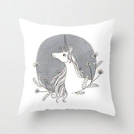Unicorn & Nemophila Throw Pillow