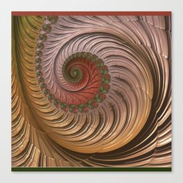 Coral RED, FRACTALS, olive GREEN multicolor Canvas Print