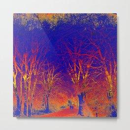 Wanderlust Psychedelic Forest (sunset orange-blue) Metal Print