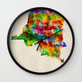 DR Congo Map in Watercolor Wall Clock