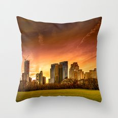 Sunset over Midtown Manhattan Throw Pillow