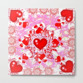 Red Hearts Valentines & Pink Art Patterns Metal Print