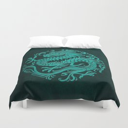 Traditional Teal Blue Chinese Dragon Circle Duvet Cover
