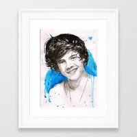 harry styles Framed Art Prints featuring Harry Styles by Marina  Berdnikova