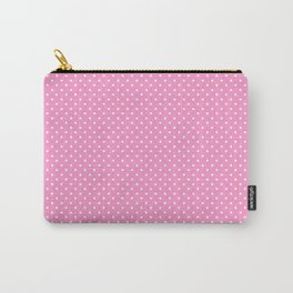 Modern pink white girly geometric polka dots Carry-All Pouch