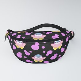 Cute sweet lovely little baby penguins flapping wings, bold pink retro dots black nursery pattern Fanny Pack