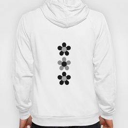 Retro White & Black Daisy Pattern Hoody