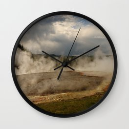 A Cloud Of Steam And Water Over A Geyser Wall Clock
