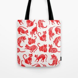 Cat Positions – Red Palette Tote Bag