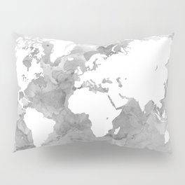 Design 49 Grayscale World Map Pillow Sham