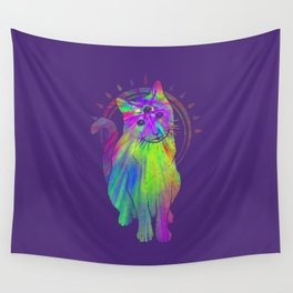 Psychedelic Psychic Cat Wall Tapestry
