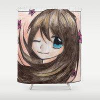 manga Shower Curtains featuring MANGA GIRL FLOWERS GREETINGS by LUCI-ART