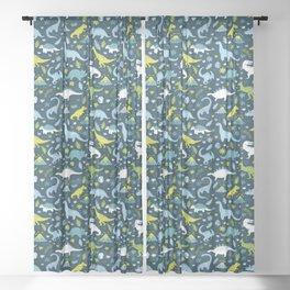 Kawaii Dinosaurs in Blue + Green Sheer Curtain