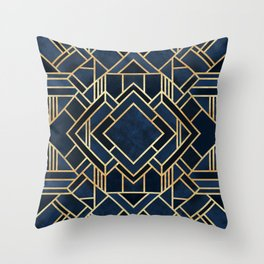 Art Deco Fancy Blue Throw Pillow