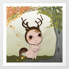Deery Fairy under Autumn Leaves Art Print