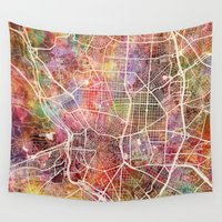 madrid Wall Tapestries featuring Madrid by MapMapMaps.Watercolors
