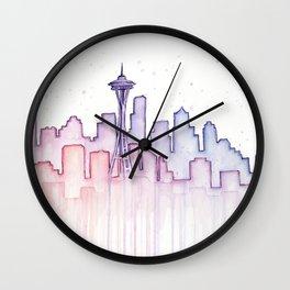 Seattle Skyline Watercolor Wall Clock