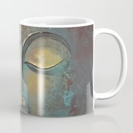 Rusty Golden Copper Buddha Face Watercolor Painting Coffee Mug