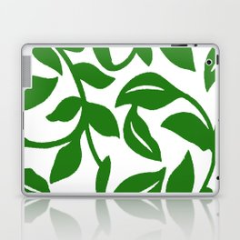 PALM LEAF VINE SWIRL IN GREEN AND WHITE Laptop & iPad Skin