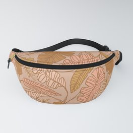 Contour Line Leaves on Taupe Fanny Pack
