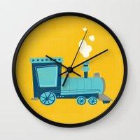 train Wall Clocks featuring Train by KatieDaugherty