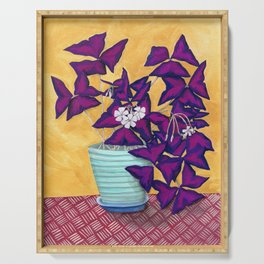 Purple Shamrock Houseplant Painting Serving Tray