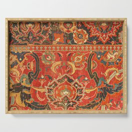 Red Arabic Rug I // 17th Century Colorful Firey Red Light Teal Sapphire Navy Blue Ornate Pattern Serving Tray