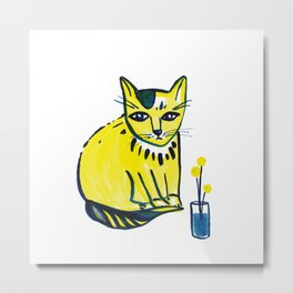 Yellow Cat with Craspedia Metal Print