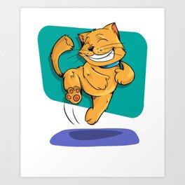 Jumping Golden Brown Cat Art Print