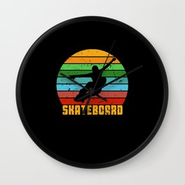 Retro Skate Skateboard Skateboarding Wall Clock