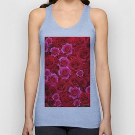 NATURE ART OF BED OF RED & PINK ROSE FLOWERS Unisex Tank Top