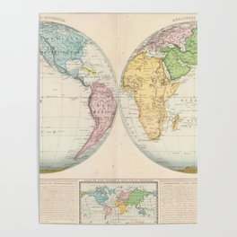 Vintage Map of The World (1862) 2 Poster