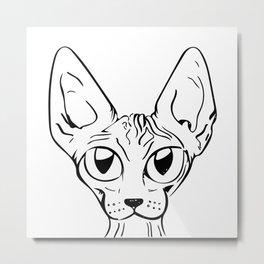 Sphynx Cat Cartoon - Sphynx Cat Drawing - Sphynx Illustration - Black and White - Ink Metal Print