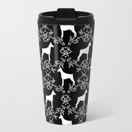 Doberman Pinscher floral silhouette black and white minimal basic dog breed pattern art Travel Mug