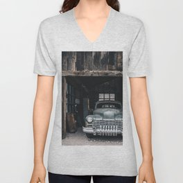 Old vintage car truck abandoned in the desert Unisex V-Neck