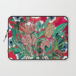 Rex Manning Day Red Floral Still Life with Lion Vase Laptop Sleeve