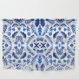 Folk Art Flowers - Blue and White Wall Hanging