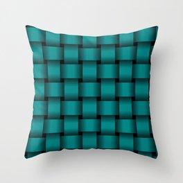 Large Dark Cyan Weave Throw Pillow