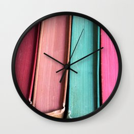 Colorful Vintage Book Spines Wall Clock