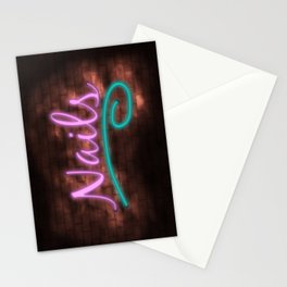 Neon Nails Sign Stationery Cards