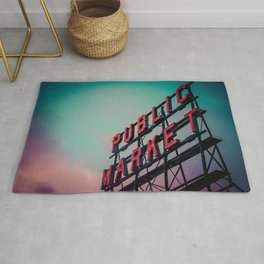 Seattle Pike Place Public Market Sign at Dawn Rug