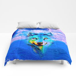 Wolf Moon and the Deep Blue Sea Comforters