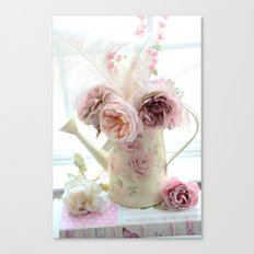 Shabby Chic Cottage Spring Floral In Water Bucket Canvas Print