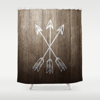 coachella Shower Curtains featuring 3 Cross Arrows by Joel M Young