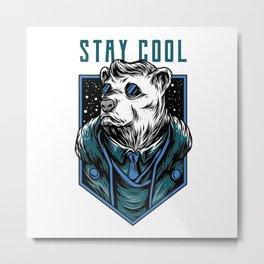 Polar bear ice bear with sunglasses stay cool Metal Print